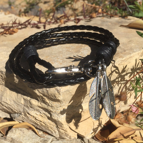 Braided Black Leather Bracelet - Silver Leaf - Yogees