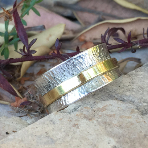 2 Tone Meditation Ring - Sterling Silver - Yogees