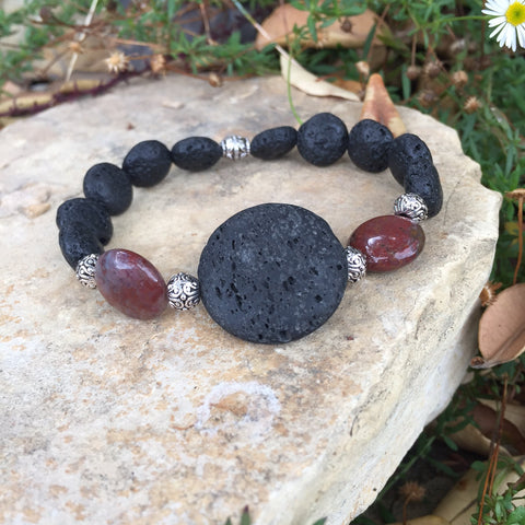 Large Lava Stone and Red Indian Agate Bracelet - Yogees