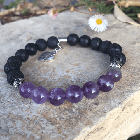 Lava and Amethyst Bracelet - Yogees