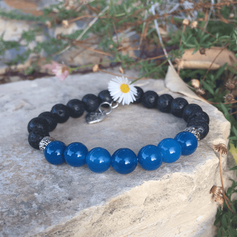 Lava and Blue Zircon Agate Bracelet - Yogees