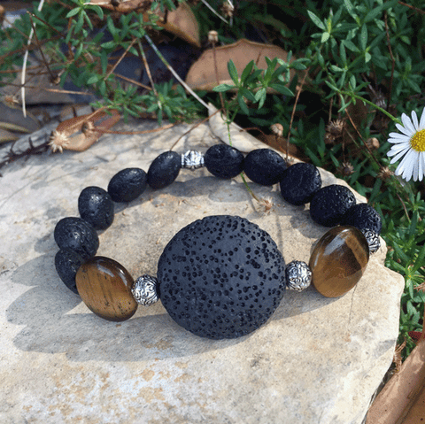 Large Lava Stone and Tigers Eye Bracelet - Yogees