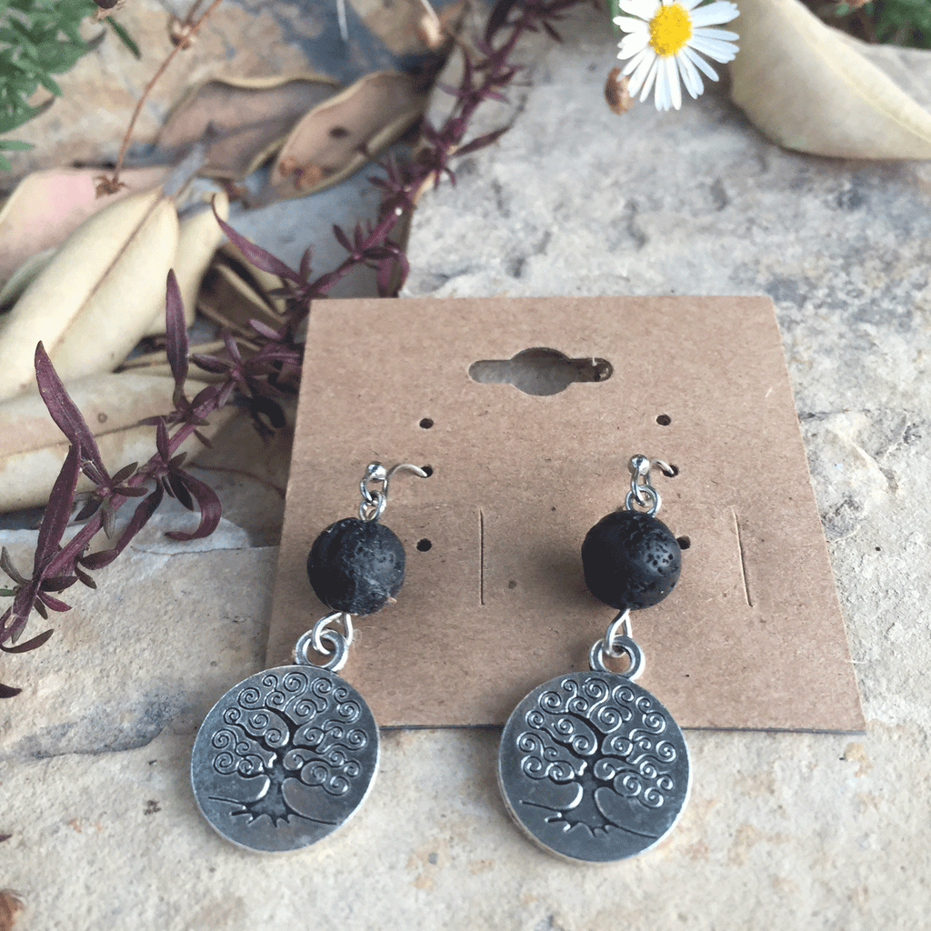 Tree of Life with Lava Stone Earrings - Yogees
