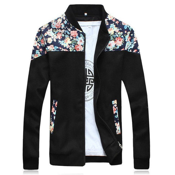 Casual Flower Print Collar Jacket