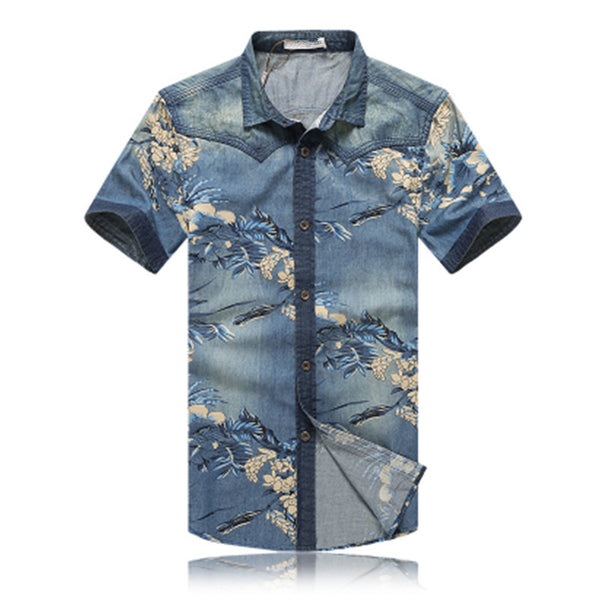 Luxury Denim Floral Shirts