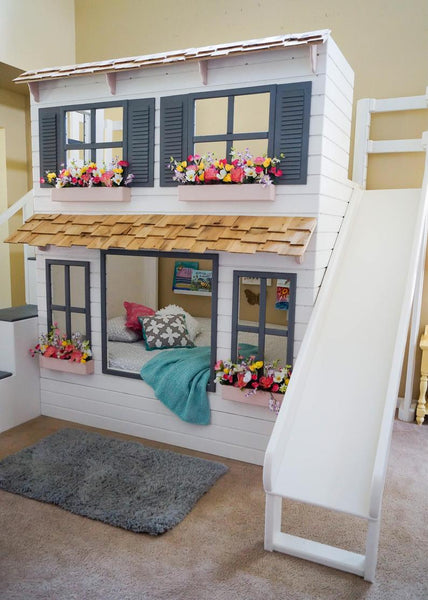 The Layla Bed, Offered as a Loft Bed or Bunk Bed, Optional trundle w/storage, Slide w/ Storage or Staircase w/ Storage.