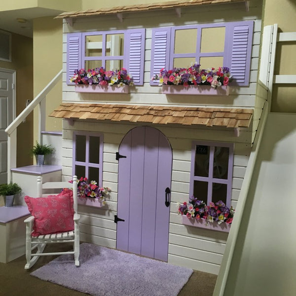 Layla's Ultimate Dollhouse Loft Bed and Playhouse Includes: Step Block Staircase w/ Built-In Storage for Toys/Clothing & Slide w/ Storage!