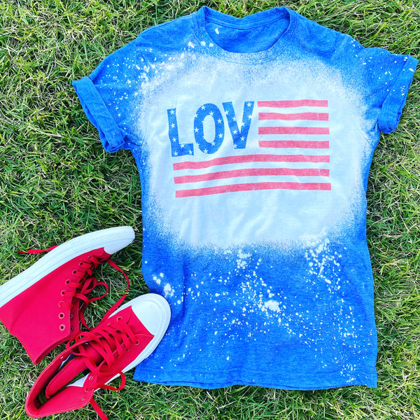 """AMERICAN LOVE"" VINTAGE RETRO  DESIGN  SHORT SLEEVES IN HEATHER BLUE"