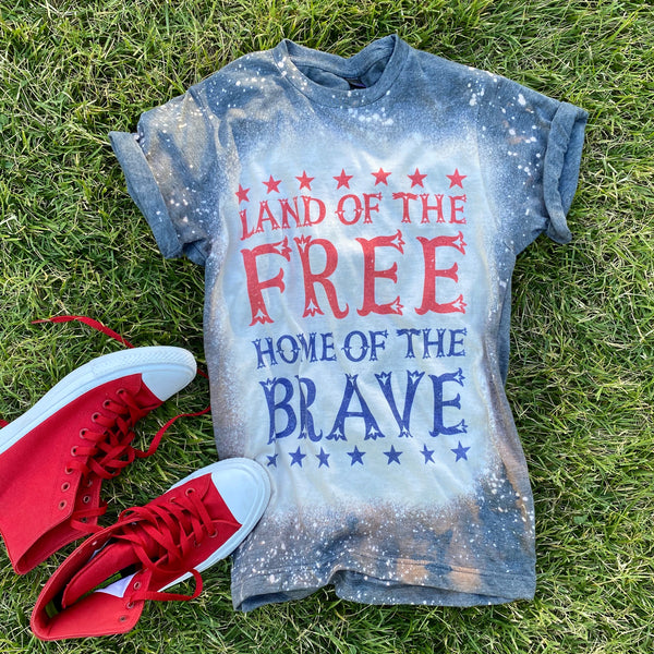 """LAND OF THE FREE"" GRAPHIC DESIGN HANDMADE TOP IN HEATHER CHARCOAL"