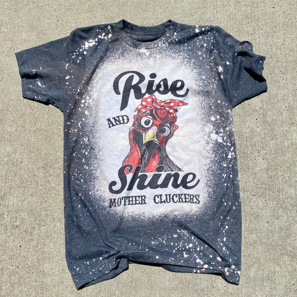 """RISE AND SHINE"" HANDCRAFTED SHORT SLEEVES TOP IN HEATHER CHARCOAL"