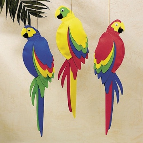 3-Pack of Foam Jumbo Colorful Tropical Luau Parrots