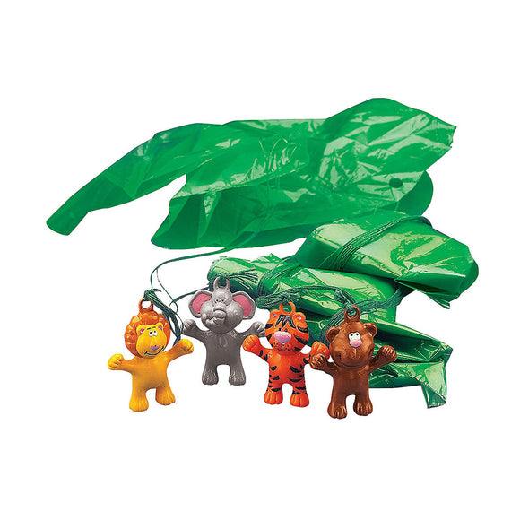 12-Pack of Vinyl Jungle Zoo Animal Paratroopers Parachute Figure