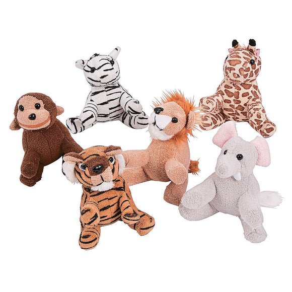 6-Pack of Plush 5 inch Jungle Safari Zoo Animal
