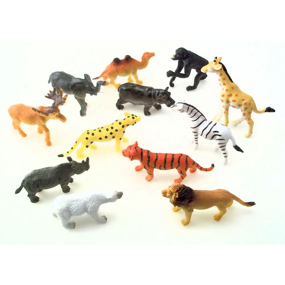 12-Pack of Assorted Jungle Zoo Animal Figures