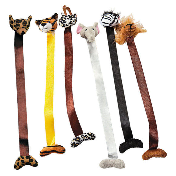 6-Pack of Plush Jungle Animal Bookmarks