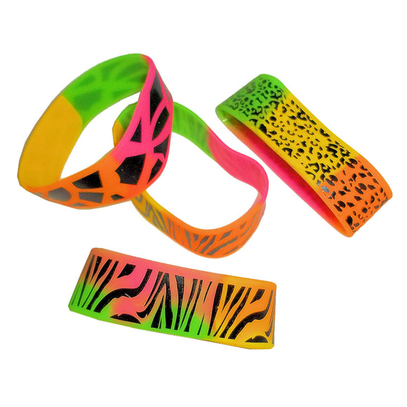 12-Pack of Zoo Animal Rainbow Safari Print Wide Rubber Bracelets