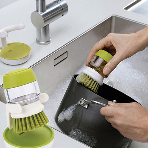 Liquid Soap Dispensing Brush with Stand