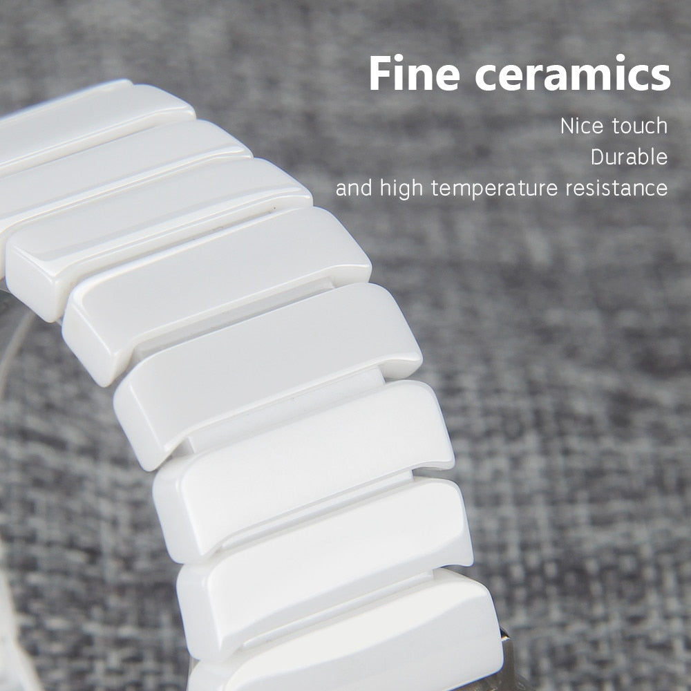 Sleek and Smooth Look of a Ceramic Link Watchband for Apple