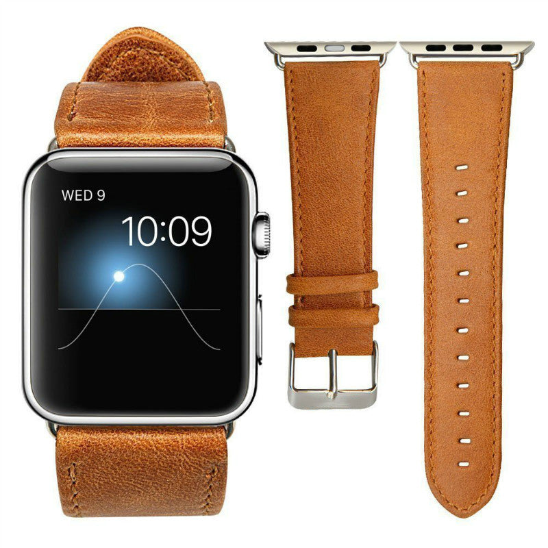 Classic Brown Leather Band for the Apple Watch available for both 38 and 42 mm