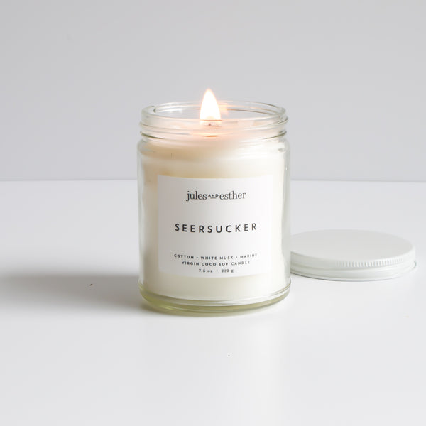 Seersucker: Wooden Wick + Virgin Coco Soy Candle