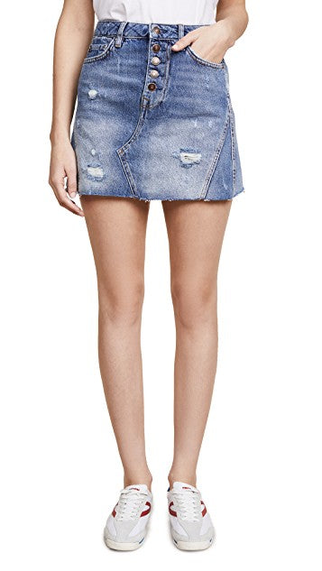 Free People Denim A-Line Skirt Indigo