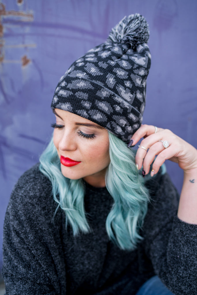 Pom Pom Leopard Beanies | 2 Colors!