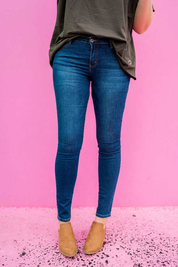 Dark Blue Mid Rise Skinnies | Up to size 15!