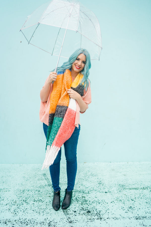 Rainbow Color Block Scarf