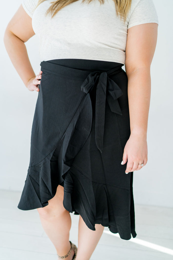 Wrap Tie Waist Ruffled Plus Size Skirt
