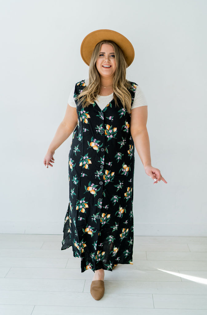 Life in Lemons Button Up Plus Size Dress