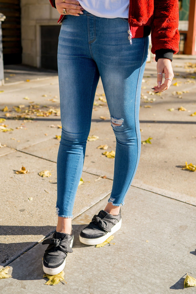 Medium Wash Mid Rise Jeggings | Up to 3X!