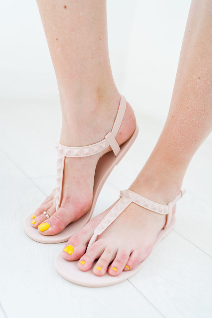 Studded T-Strap Jelly Sandal | 2 Colors!