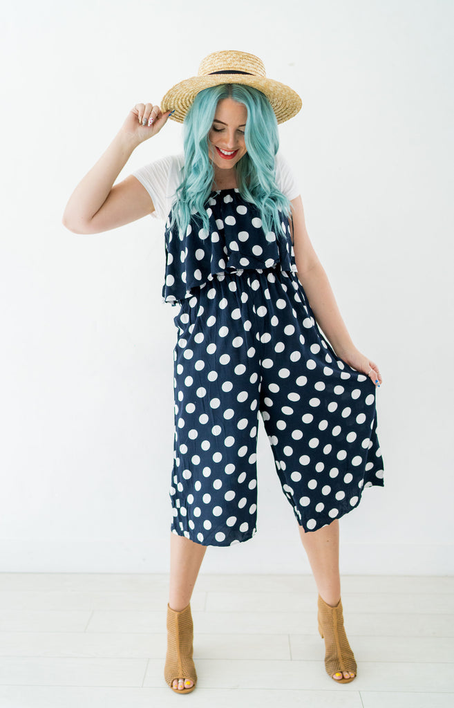 Wide Leg Crop Polka Dot Jumpsuit | 2 Colors!