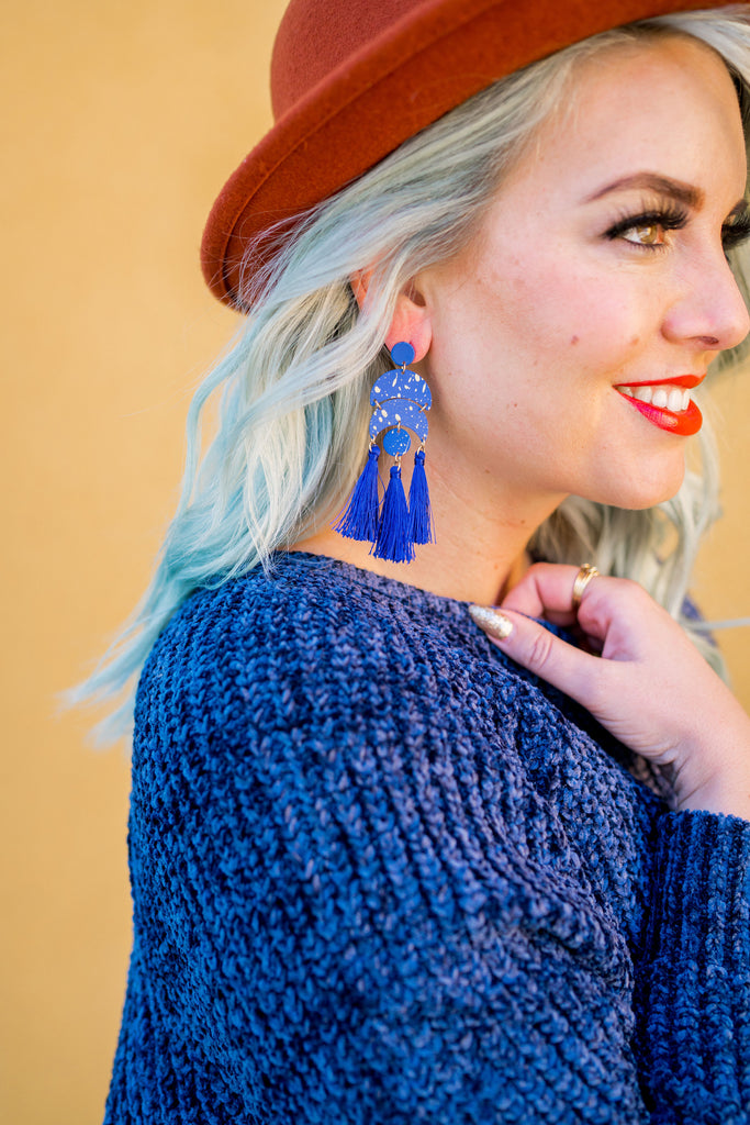 Gold Speckled Cobalt Statement Earrings