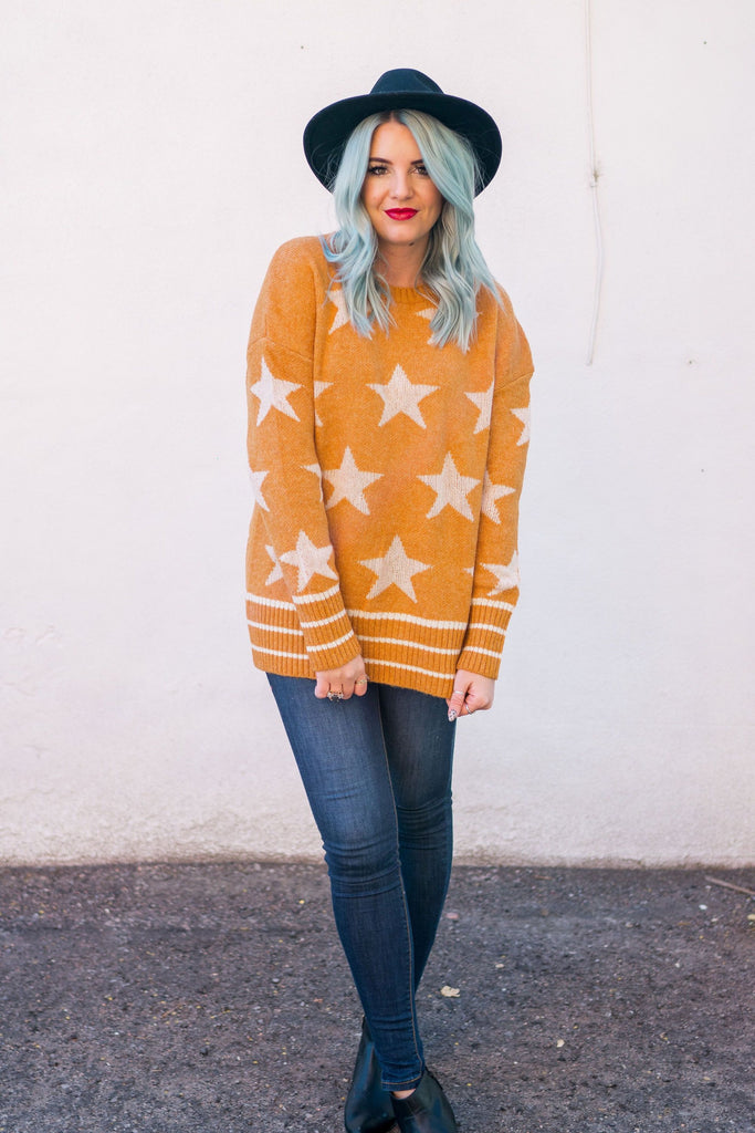 Pumpkin Spice Star Knit Sweater