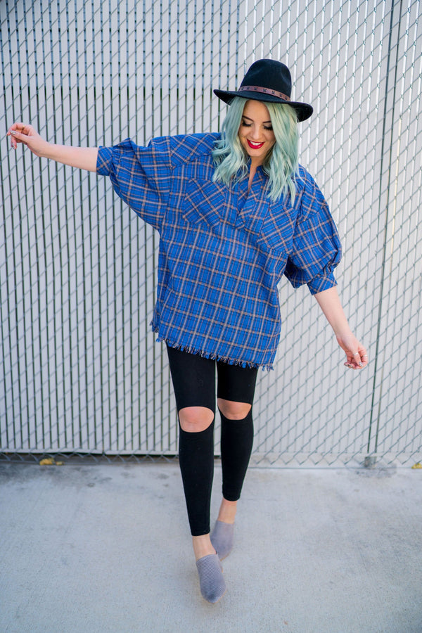 Blue Bubble Fringe Plaid Top