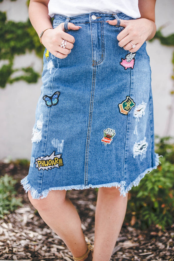Patch Me Through Denim Skirt