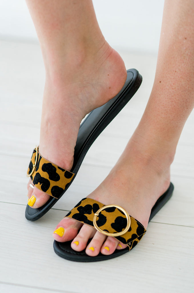 Buckled Leopard Slides