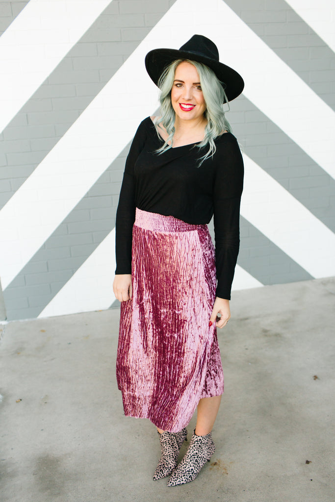 On The Outskirts Velvet Skirt | 3 Colors!