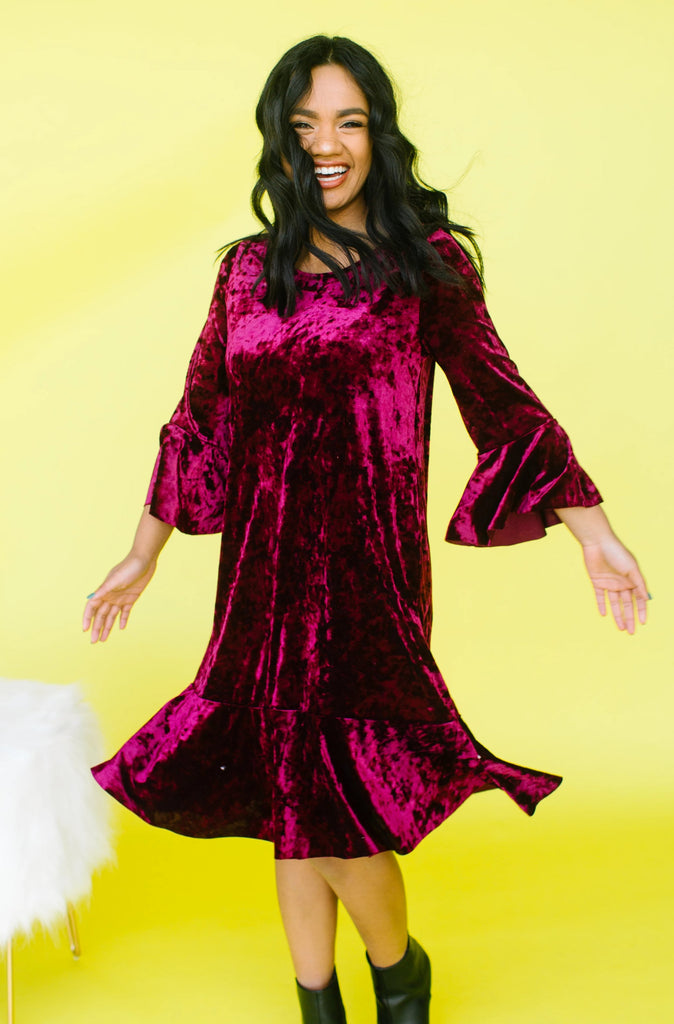 Velicious Velvet Flutter Dress | 2 Colors!