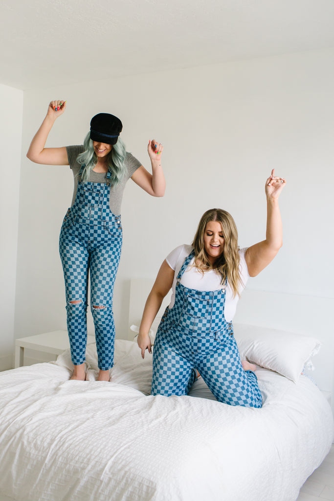 Checkered Destructed Overalls | Up to 3X!