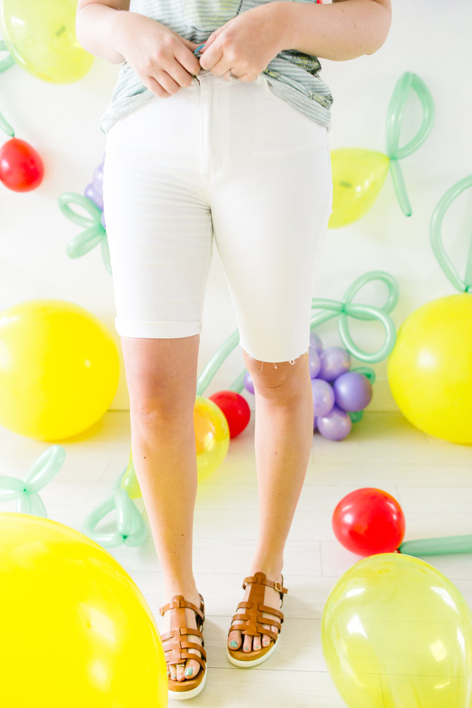 High Waist White Bermuda Shorts | Up to 3X!