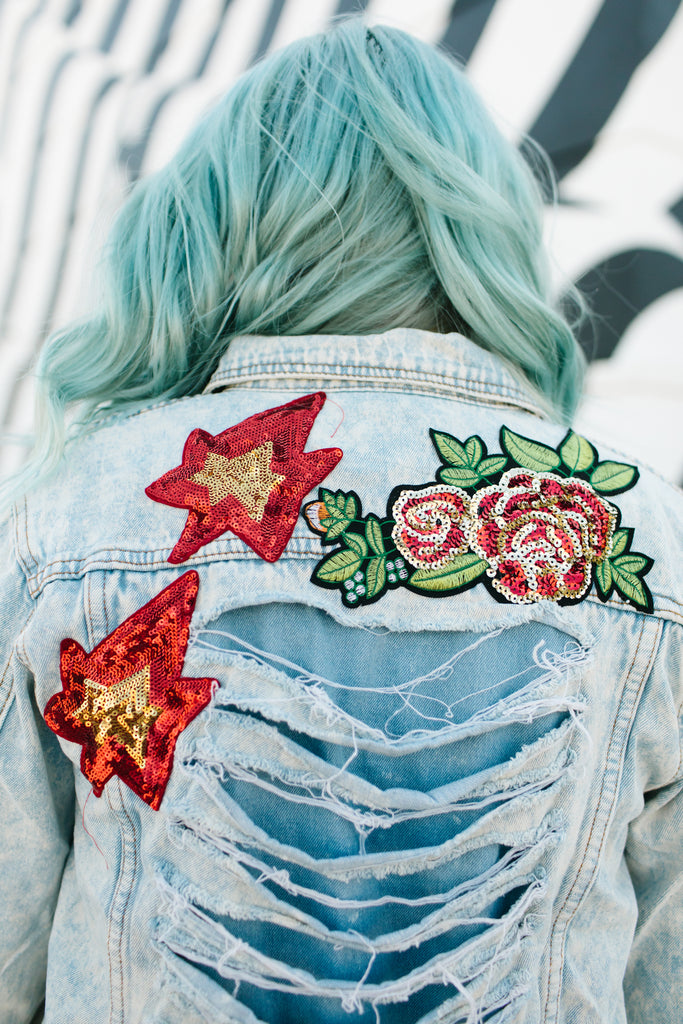Concert Vibe Distressed Patchwork Jacket