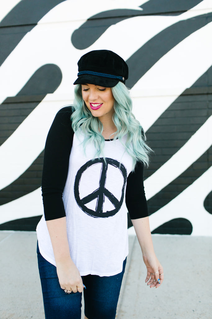 Peace and Love Baseball Tee