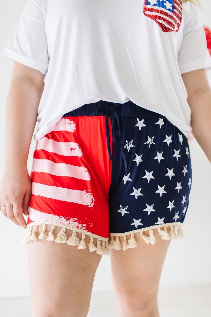 Flag Bottom Tassel Shorts | Up to 3X!