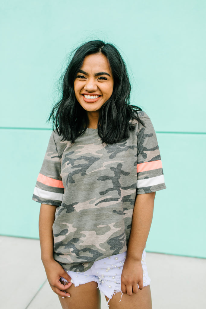 Royally Striped In Camo Tee | 2 Colors!
