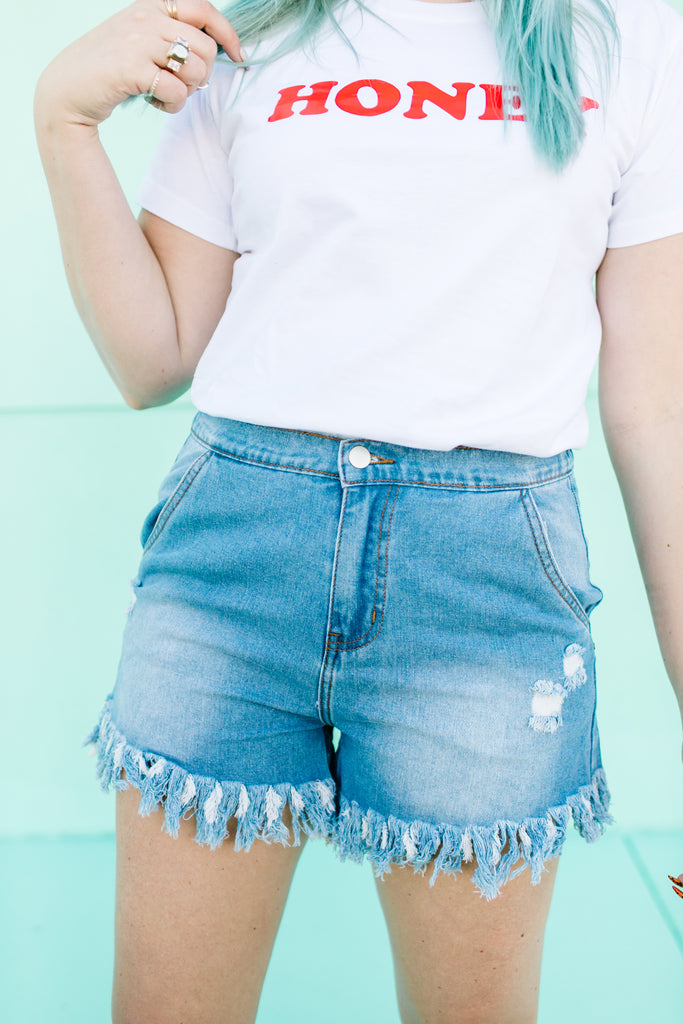 Max Fringe Denim Shorts | Up to 3X!