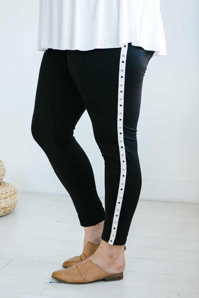 Silver Studded Plus Size Leggings