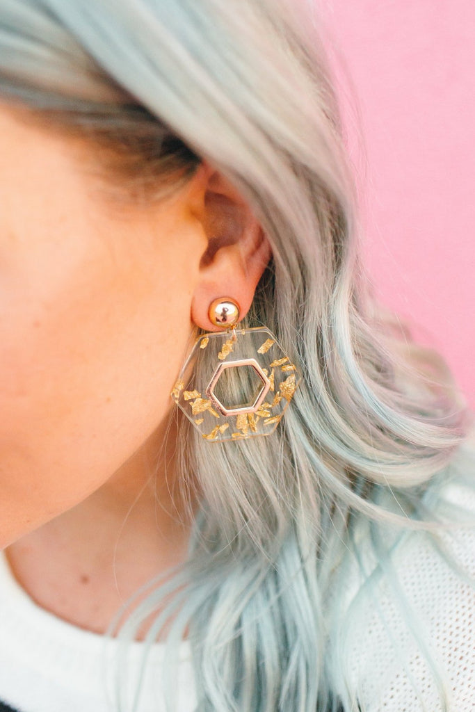 All That Glitters Gold Flake Hex Earring