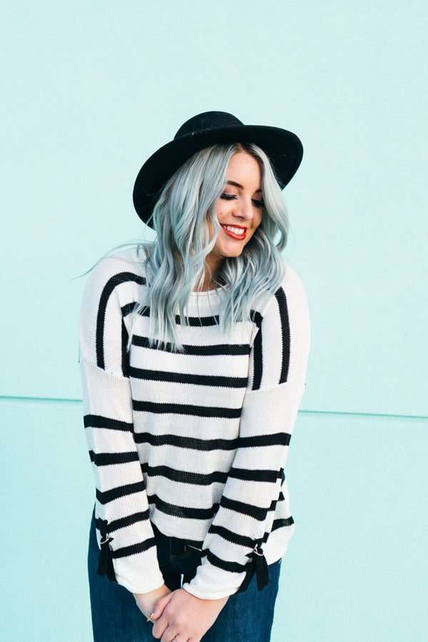 Chic Chick Black and White Stripe Sweater
